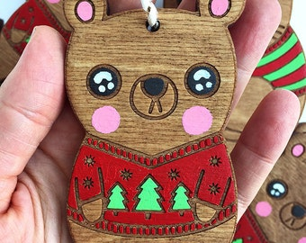 Bear Ornament Tree Ornament Bear Christmas Decoration Friend Coworker Gifts under 25 Wooden Ornament Hand painted Cute Christmas Ornament