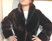 ON SALE SALE!  Mouton Coat Vintage 50s Deep Brown Size 6 Sheared Fur Shearling Fur Coat