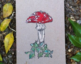 Red Toadstool Hand Printed and Hand Coloured Artisan Gift Card on Recycled Kraft Card
