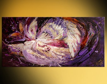 """Acrylic Modern Symbolism Abstract Painting Contemporary Jewish Fine Art Canvas Angel Wings series """"The dance of spirit"""" Large wall hanging"""