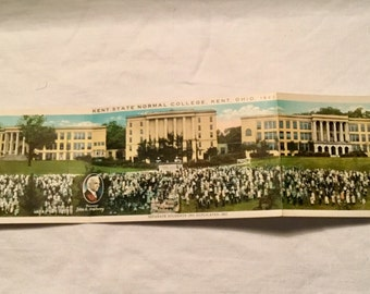 Panoramic Post Card of 1922 Enrollment of Kent State College, Kent, Ohio plus 3 others, Including Airscope  of the Campus