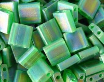 Miyuki Tila TL146FR Seed Beads 5MM MATTE TRANSPARENT GREEN Ab  7.2 Gram  Miyuki