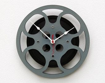 Movie Lover Clock, Filmmaker Gift, Theater Decor, Photographer gift,  Unique Wall Clock, 16 mm Film Reel Wall Clock, Steampunk Wall Clock