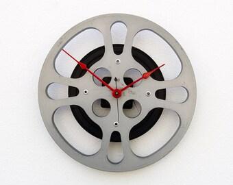 Earth Day Gift, 16 mm Film Reel Wall Clock, Movie Lover Clock, Theater Decor, Steampunk Wall Clock, Filmmaker Gift, movie reel Clock