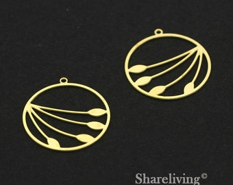 Exclusive - 6pcs Raw Brass Flower Charm / Pendant,  Circle Floral, Fit For Necklace, Earring, Brooch - TG301