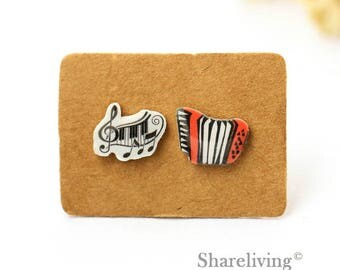 4pcs (2 pairs) Mini Accordion Charm / Pendant, Stud Earring, Laser Cut Tiny Music Note Earring, Perfect for Earring / Rings - YED022B