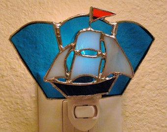 Stained Glass Sail Boat Night Light Suncatcher