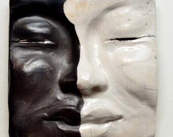 Black and White Buddha Face Tile: Handmade Raku Buddha Wall Hanging 5 X 5