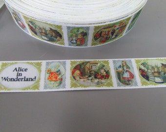 Alice in Wonderland 2.5cm Grosgrain Ribbon x 1 metre