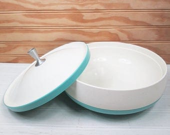 Vintage Aqua & White Plastic Serving Bowl w/ Lid Thermo Ware Style Speckled Retro Turquoise