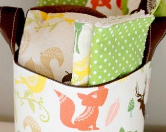 Woodland Baby Gift Basket--- Burp Cloth, Bib, Rattle Block, Wash Cloth Set and Fabric Basket