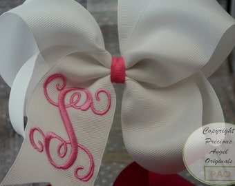 Embroidered 6 inch Hair bow with Single Initial