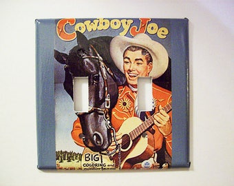 retro cowboy double switch plate vintage 1950's western rockabilly switch cover kitsch