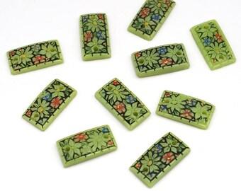 10 pcs handpainted floral glass links, green rectangular 2 hole components, vintage Japanese flatback, 15mm