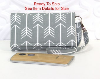 Cell Phone Wallet Wristlet, Ready To Ship, Fits iPhone 6, 7 Plus With No Case or Samsung Galaxy Note No Case, Gray Arrow / Peacock Blue