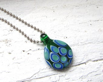 Green and Blue Minimalist Glass Necklace