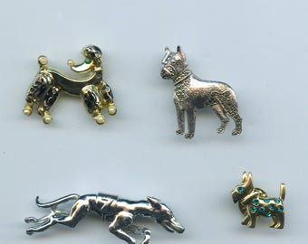 Vintage Dog Theme Brooches Set Of 4 Greyhound Boxer Poodle Scottie