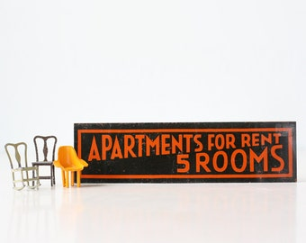 Vintage Metal Sign- Apartments for Rent, 5 Rooms, Black and Orange