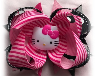 Hello Kitty Pink and Black Boutique Hair Bow