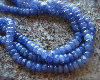 Large 7mm X 4mm Faceted Tanzanite Rondelles - semiprecious gemstones - 3 inches
