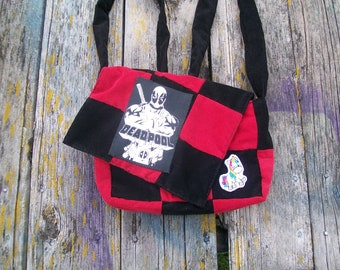 Red Black Unicorn Deadpool Patchwork Recycled Corduroy Purse Ready to Ship
