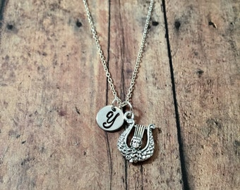 Lyre initial necklace - lyre jewelry, music teacher gift, music charm necklace, harp jewelry, instrument necklace, silver lyre necklace