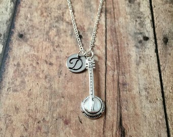 Banjo initial necklace - banjo jewelry, gift for banjo player, instrument jewelry, musician necklace, music jewelry, silver banjo necklace