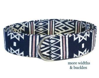 Woven Fabric Belt / Tribal Belt / Navy White Pink D-ring Belt / Aztec Belt / Native American Wide Belt  XS to Plus Size Belt