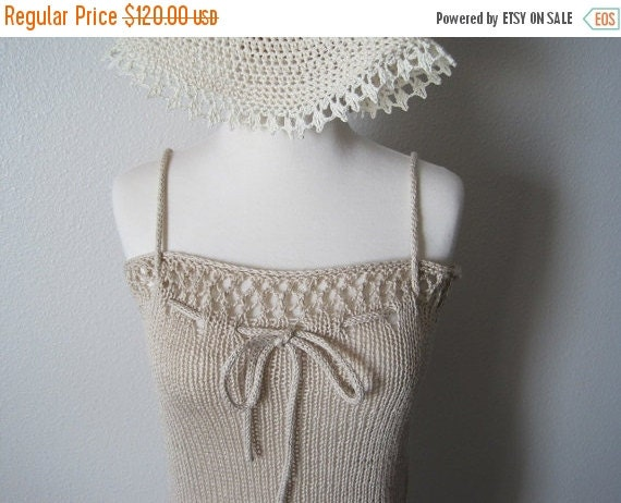 February Sale Knit Lace Coverup Tank in Eggshell - Women's Summer Fashion - Fashion Thing to Style as Cowl, Tank, Halter, or Skirt - Cotton