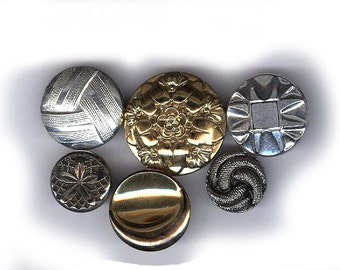 vintage buttons western germany glass they look like METAL but they are all GLASS antique glass buttons SIX buttons in all