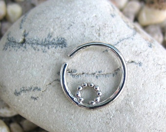 Silver Septum Ring, Stone Septum, Silver Nose Ring, Septum Piercing, Nose Jewelry, Sterling Silver