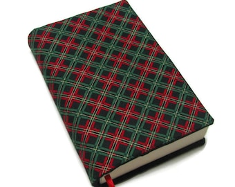 Book cover, TRADE SIZE paperback book cover,  book protector, cotton, padded cover, ribbon bookmark,  Plaid