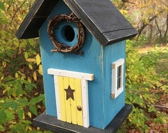 ON SALE Blue Birdhouse Yellow  Door Grapevine Wreath Metal Star Black Roof and Base Bottom Removes for Clean out