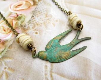 Bird necklace - Rustic Jewelry - patina swallow