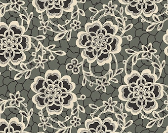 Downton Abbey Fabric Shirtings - Half Yard - Gray Grey Black with Off White Roses Floral Design Reproduction Fabric Andover - A 7319 K