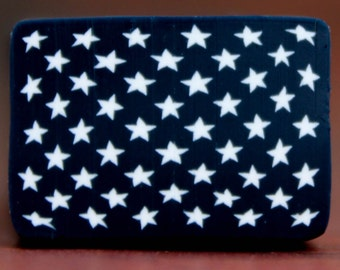 American Flag Canton, White Stars on Navy Blue Polymer Clay Cane (45aa)