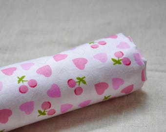 "Sale/ Sweet Pink Heart&Cherry Fabric (62""/160CM)"