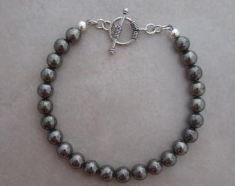 pyrite sterling silver bracelet