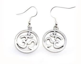 OM Symbol Earrings, Symbol Earrings, Spiritual Earrings For Pierced Ears, Silver OM Symbol Earrings, Dangle Earrings, Drop Earrings E2