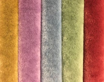 """NEW!  Sassy Long Pile - Premium Fabric for making Mini Teddy Bears - by Emily Farmer - Hand Dyed - LOT E - 5 Pieces - 9"""" x 7"""""""
