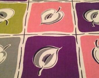 Vintage 1950s Leaf Print Cotton Fabric - 7/8 Yard / Fabric Yardage / Fabric Yardage / Cotton Fabric/ 1950s Fabric / 50s / Pink Roses