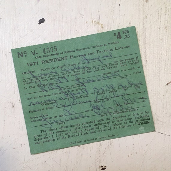 Sale 1971 ohio hunting license tag from magpiemary on for Fishing license il