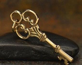 bronze key, bronze Victorian key pendant, golden bronze key charm, key necklace, key charm pendant