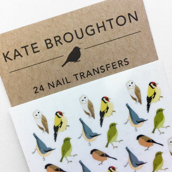 mixed bird nail transfers - illustrated nail art stickers