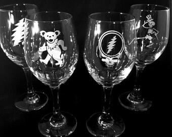 Grateful Dead Wine Glass Set of 4 Glasses Etched Engraved Gift