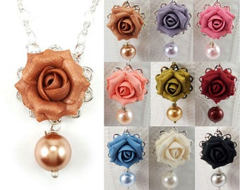 Rose Pearl Necklace - Formal Flower Necklace