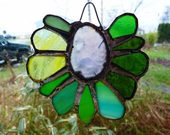 Stained Glass Flower Sunflower Suncatcher with Agate Centerpiece  - March Rain