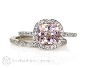 Platinum Cushion Morganite Engagement Ring & Wedding Band Cushion Diamond Halo Morganite Ring Custom Bridal Jewelry