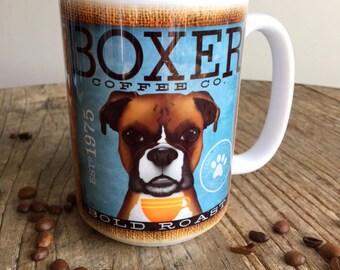 Boxer dog Coffee company graphic art MUG 15 oz ceramic coffee mug