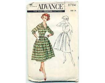 Vintage 1959 Sewing Pattern Shirtwaist Dress Full Skirt Fitted Waist Button Up Front Notched Collar Hipster 50s Mid-Century Bust 36